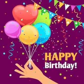 Feliz aniversário crianças divertidas cartaz fundo com balões
