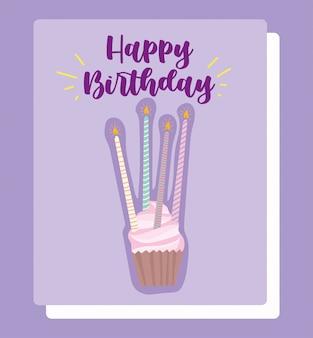 Feliz aniversário, cupcake com velas brilhantes cartum cartão de decoração de celebração