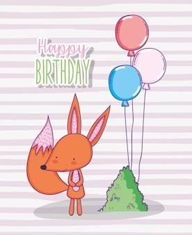 Feliz aniversario da raposa bonito com balões e arbusto