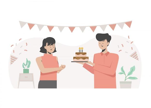 Feliz aniversário, dando seu bolo de aniversário. festa de aniversário. ilustração plana.
