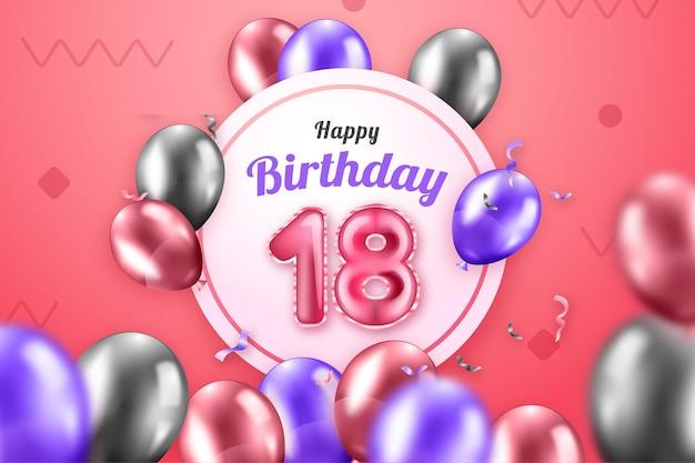 Feliz aniversário de 18 anos com balões realistas