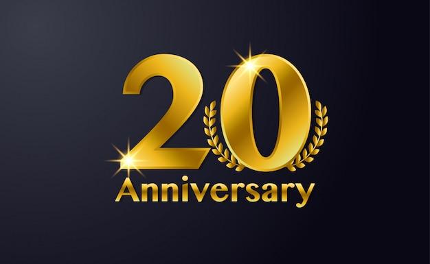 Feliz aniversário de 20 anos modelo de plano de fundo. com preto e dourado