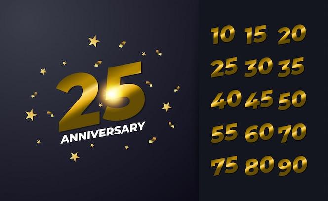 Feliz aniversário de 25 anos com cor preta e dourada