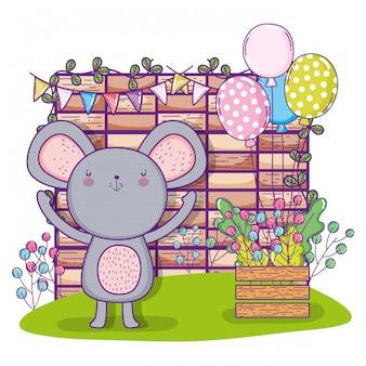 Feliz aniversário de coala com balões e parede de tijolo