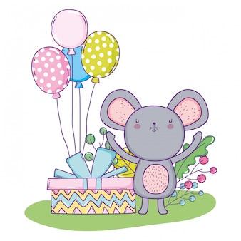Feliz aniversário de coala com balões e presente presente