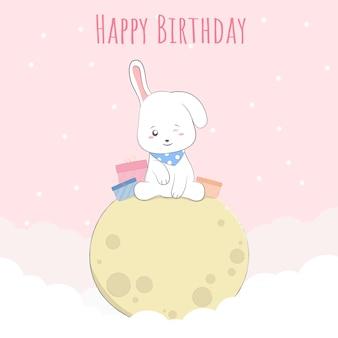 Feliz aniversário de coelho bebê fofo