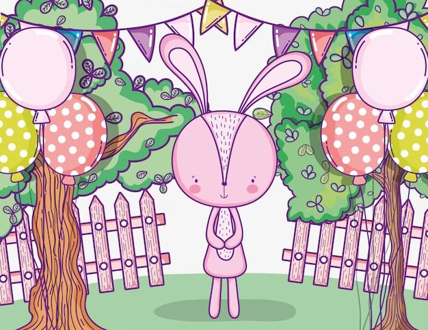 Feliz aniversário de coelho com balões e banner de festa