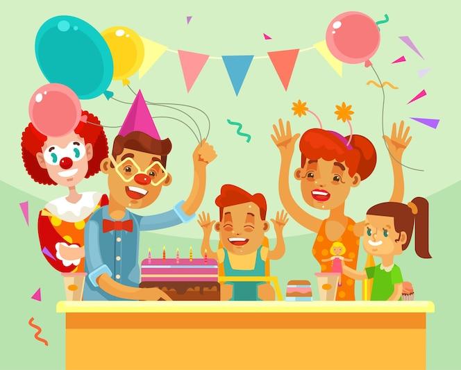 Feliz aniversário de crianças. festa de família.
