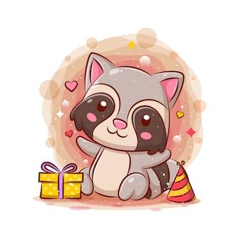 Feliz aniversário de guaxinim bonito celebração