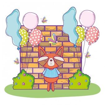 Feliz aniversário de guaxinim bonito com balões e arbustos