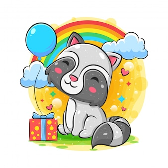 Feliz aniversário de guaxinim com fundo presente e balão
