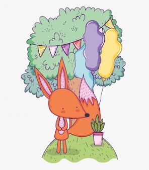 Feliz aniversário de raposa com festa de banner e balões