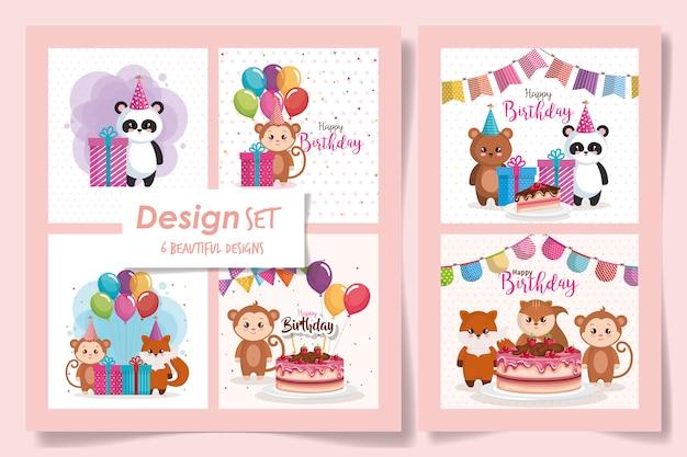 Feliz aniversário de seis cartões com animais fofos
