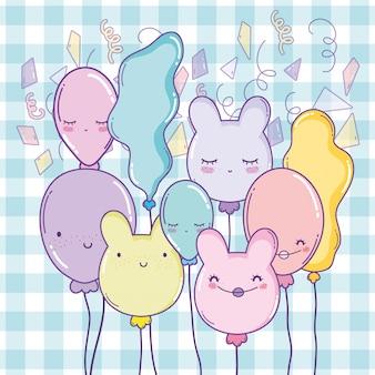Feliz aniversário, decoração, com, personagem, balões