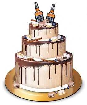 Feliz aniversário delicioso bolo e garrafas de uísque