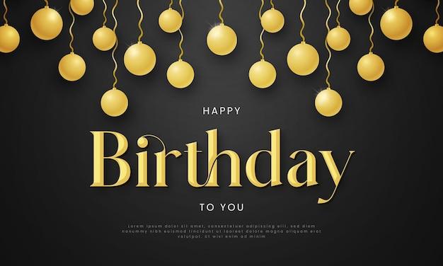 Feliz aniversário desejando modelo de banner com efeito de texto editável de bola dourada de aniversário
