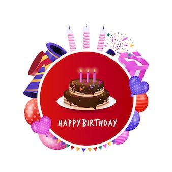 Feliz aniversário design com tipografia criativa vector
