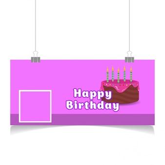 Feliz aniversário design mídia social capa vector