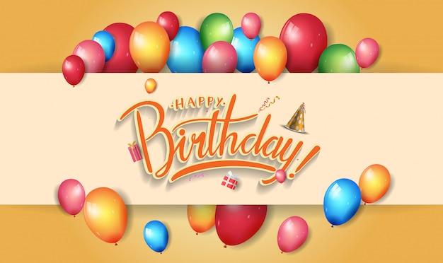 Feliz aniversário design para banner, cartaz, cartão de convite com elemento de aniversário colorido