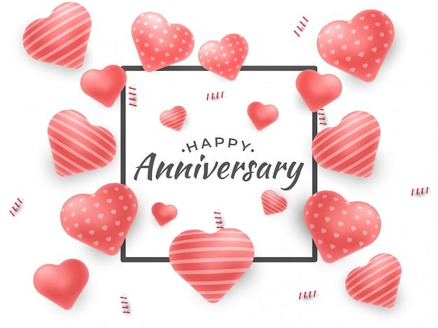 Feliz aniversário design para cartões e cartaz com balão de amor