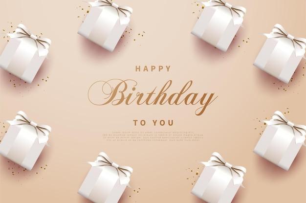 Feliz aniversário dia plano de fundo com fita e caixas de presente sombreadas.