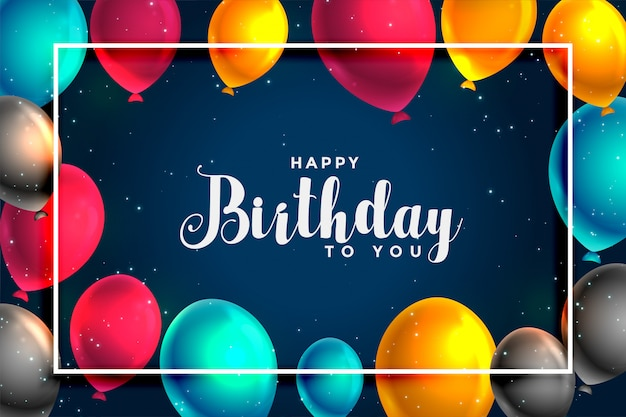 Feliz aniversário divertido design de cartão de balões