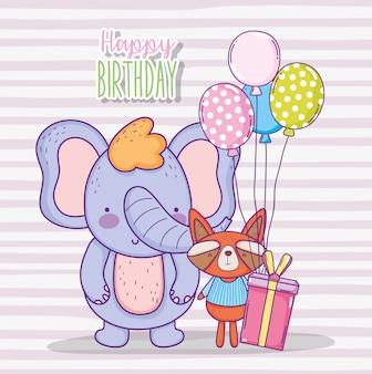 Feliz aniversario do elefante e do guaxinim com presente atual