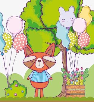 Feliz aniversario do guaxinim bonito com balões