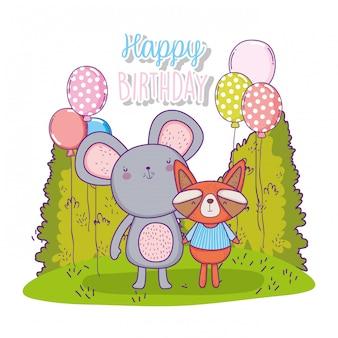 Feliz aniversario do koala e do guaxinim com balões