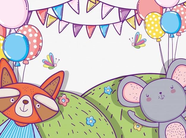Feliz aniversario do koala e do guaxinim com bandeira