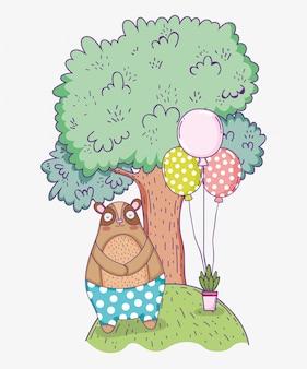 Feliz aniversario do urso bonito com balões