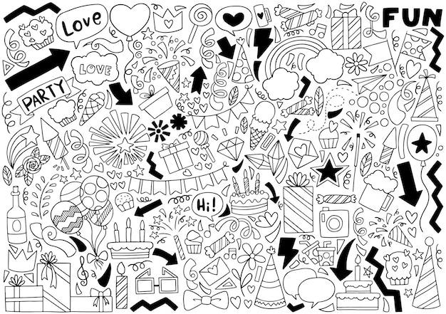 Feliz aniversário doodle de festa