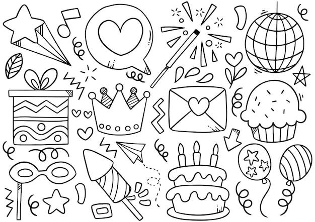 Feliz aniversário doodle desenhado de mão