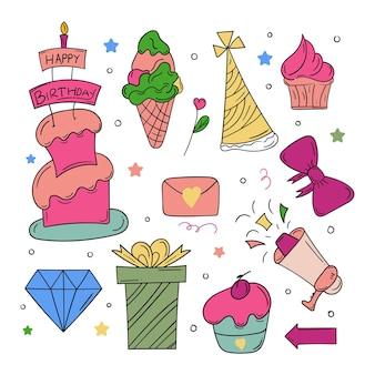 Feliz aniversário doodle ícone colorido