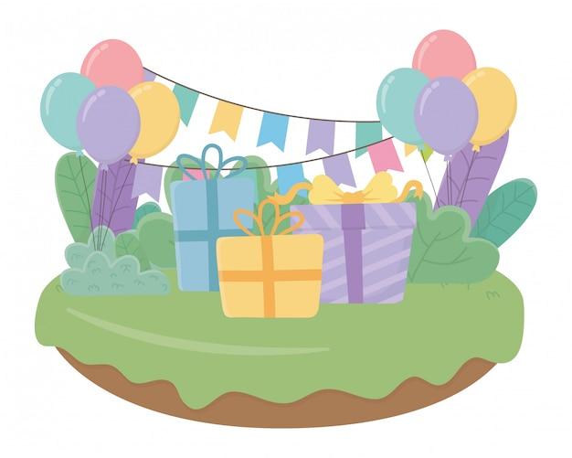Feliz aniversário e presentes de celebração