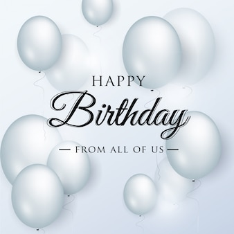 Feliz aniversário elegante cartão com balões azuis