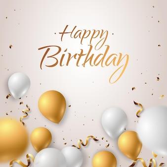 Feliz aniversário elegante com balões realistas