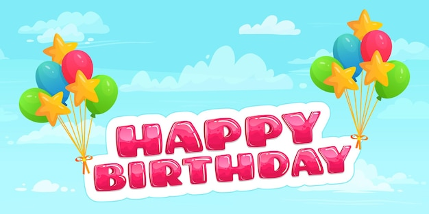 Feliz aniversário em balões voando no céu entre as nuvens. balões de hélio coloridos para a celebração do feriado. decoração para feliz evento, entretenimento, ilustração vetorial de cartão comemorativo