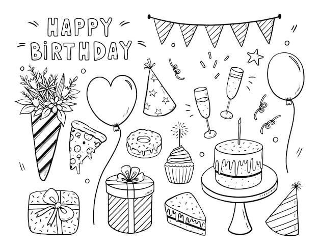Feliz aniversário em estilo doodle isolado no branco
