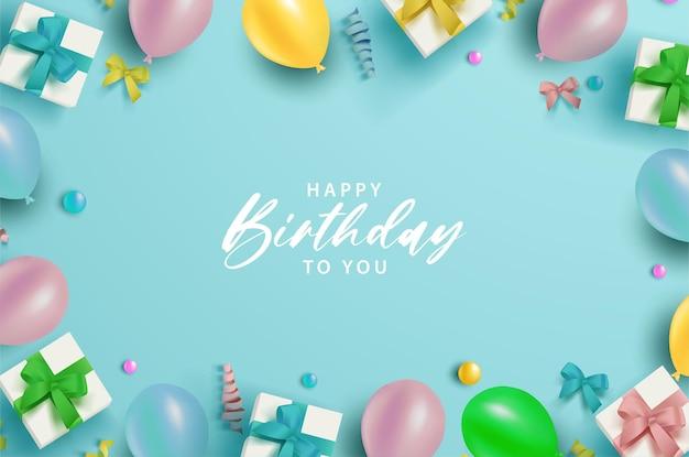 Feliz aniversário em fundo azul com balões coloridos