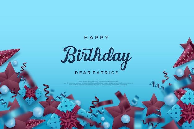 Feliz aniversário em fundo azul com decorações variadas