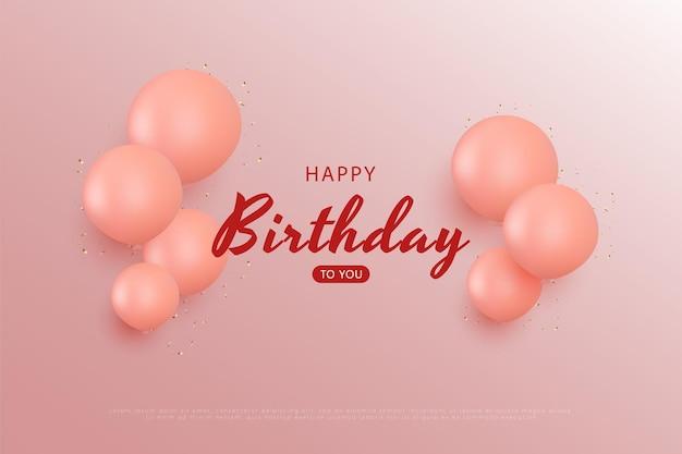 Feliz aniversário em fundo rosa com pouco efeito de luz