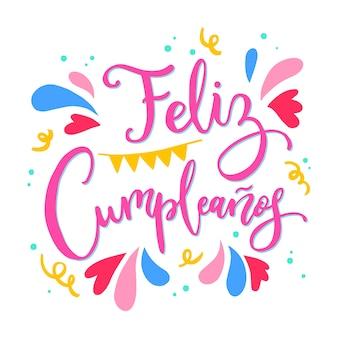 Feliz aniversário em letras espanholas