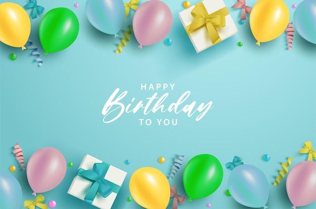 Feliz aniversário em um fundo azul