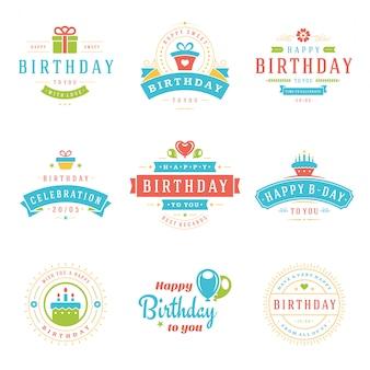 Feliz aniversário emblemas e rótulos vector design elements set.