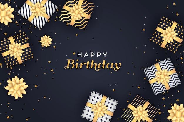 Feliz aniversário embrulhado caixas de presente