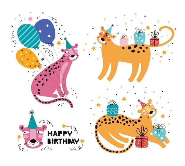 Feliz aniversário engraçado leopardo ou onça-pintada. festa de animais da selva. personagem de animal selvagem de férias. decoração festiva, presentes, boné, balão. mão ilustrações desenhadas com tipografia de saudação. doodle