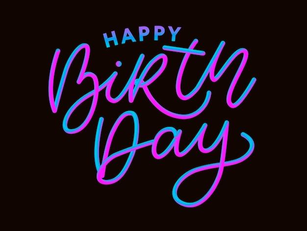 Feliz aniversário escova estilo mão lettering