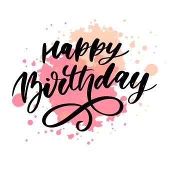 Feliz aniversário escova letras caligrafia