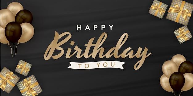 Feliz aniversário escrevendo com balões e caixa de presente